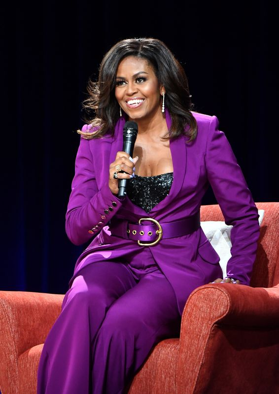 Michelle Obama during a stop on her book tour in Atlanta on May 11. Makeup by Carl Ray. Hair by Yene Damtew.