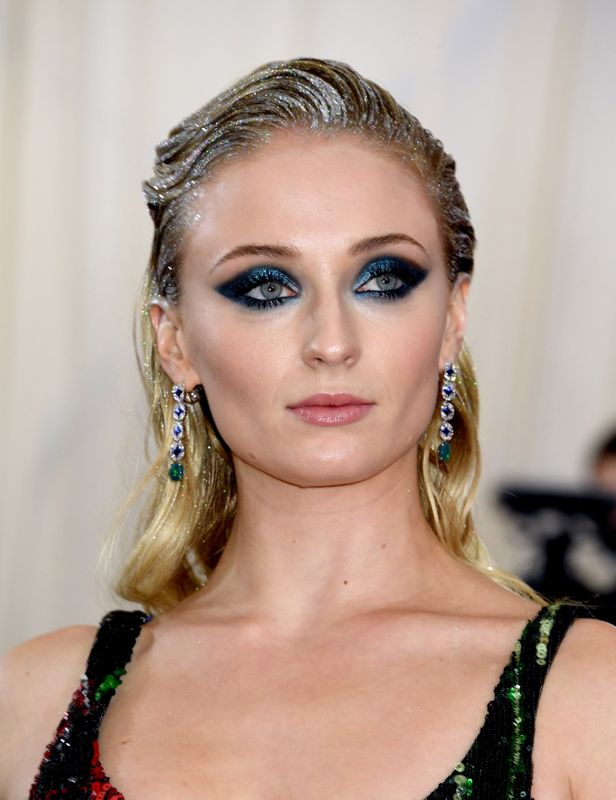 Sophie Turner at the Met Gala in New York City on May 6. Makeup by Georgie Eisdell using Pat McGrath products, hair by Christian Wood.