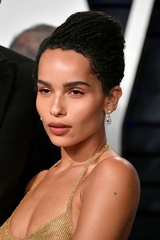 Zoë Kravitz at the Vanity Fair Oscar Party in Los Angeles on Feb. 24. Makeup by Nina Park using YSL products, hair by Nikki Nelms.