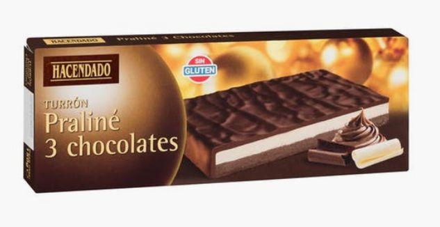 Turrón Praliné Tres Chocolates de Hacendado (Mercadona).