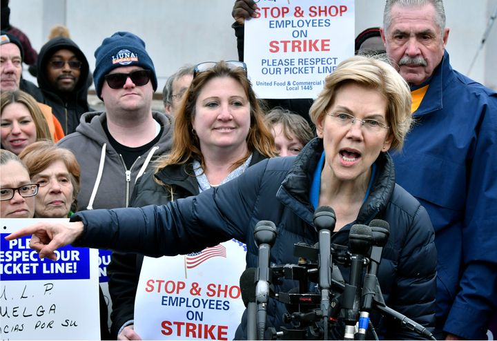 Sen. Elizabeth Warren (D-Mass.) speaks after joining striking Stop & Shop supermarket employees on the picket line on Apr