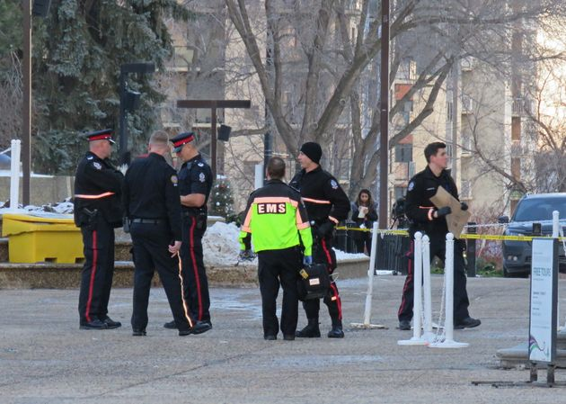 Police and paramedics at Alberta Legislature after being called to the building mid-afternoon for a weapons...