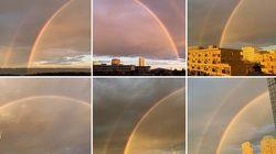 7色の大きなアーチが関東を彩った。東京、千葉に現れた虹