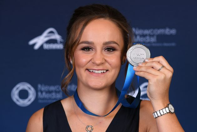 Ashleigh Barty poses with her medal after being awarded the 2019 Newcombe Medal during the 2019 Newcombe...