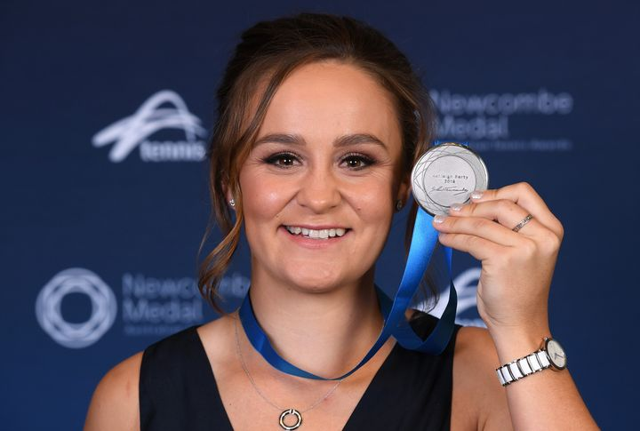 Ashleigh Barty poses with her medal after being awarded the 2019 Newcombe Medal during the 2019 Newcombe Medal at Crown Palladium on December 02.
