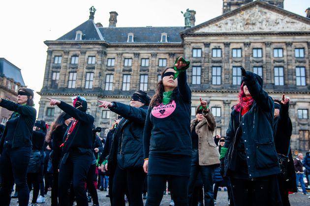 A group of Chilean women performing with blindfolds during a demonstration in The