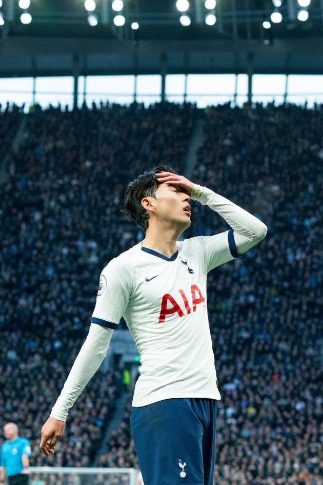 LONDON, ENGLAND - NOVEMBER 30: Tottenham Hotspur's Son Heung-Min reacts after missing a chance during...