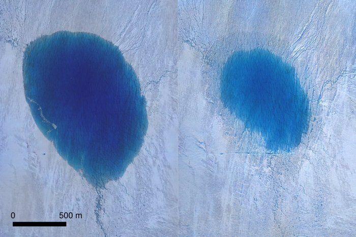 """Une image du lac avant-après. Selon une étude du PNAS, de gigantesques fractures dans la calotte glaciaire formeraient des """"moulins"""" à eau drainant plusieurs centaines de milliers de litres d'eau par seconde."""