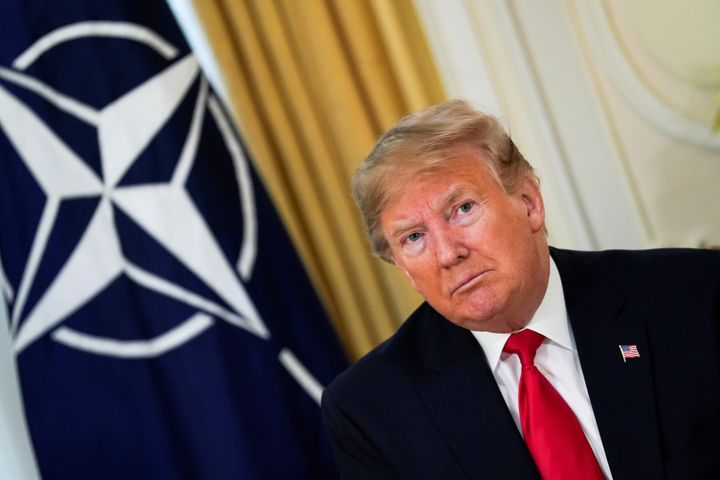 U.S. president Donald Trump attends a meeting with NATO secretary General Jens Stoltenberg (not pictured), ahead of the NATO
