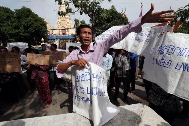 A land eviction protester near the prime minister's residence in Phnom Penh, Cambodia, in