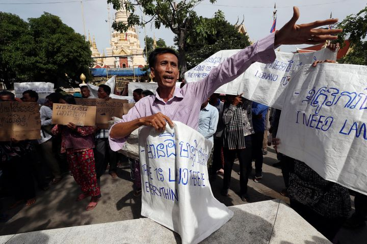 A land eviction protester near the prime minister's residence in Phnom Penh, Cambodia, in July.