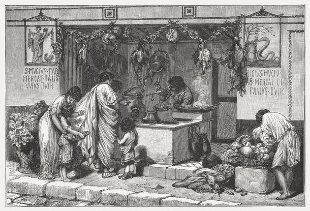 Scene from Ancient Rome: Delicatessen business with food. Wood engraving, published around