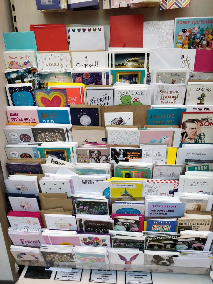 A selection of greetings cards in Sainsbury's – all without the plastic wrappers.