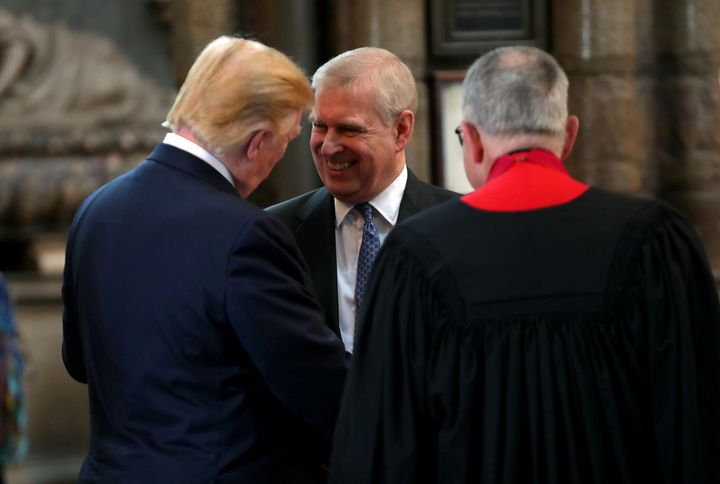 Donald Trump pictured in conversation with Prince Andrew at London's Westminster Abbey earlier this year.