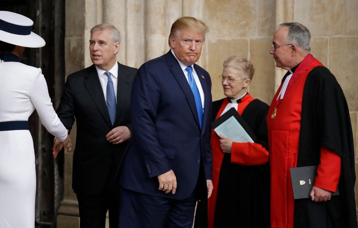 President Donald Trump and first lady Melania Trump with Prince Andrew during Trump's state visit to Britain in June 2019.