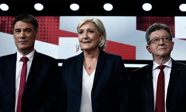 Olivier Faure (PS), Marine Le Pen (RN) et Jean-Luc Mélenchon sur France 2 en mai
