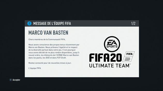 Le message envoyé par le jeu aux utilisateurs de FIFA