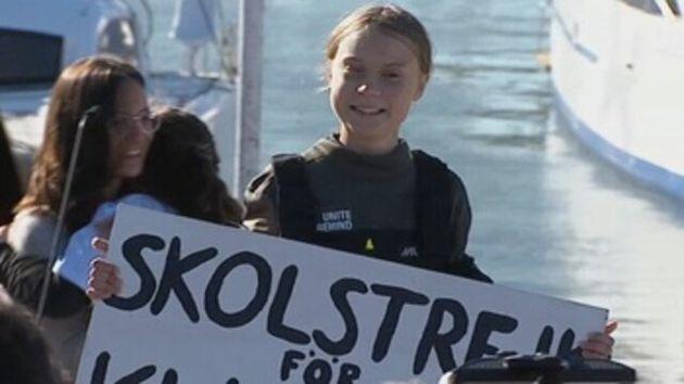 Greta Thunberg a su llegada a