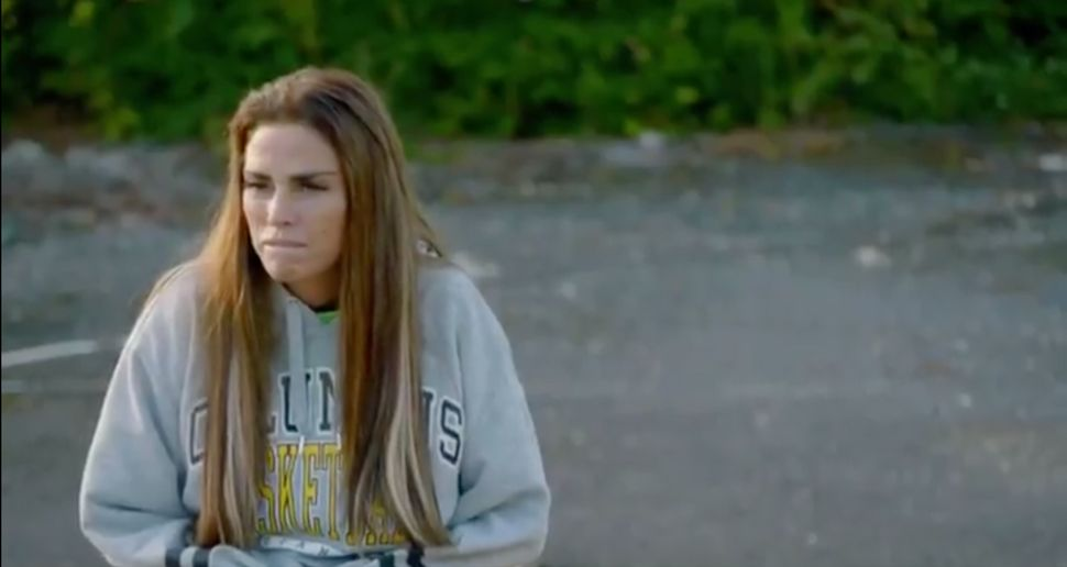 A downcast Katie in the trailer for her latest reality