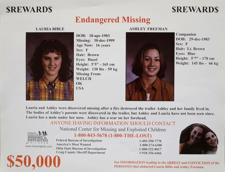 A missing poster for Lauria Bible and Ashley Freeman.