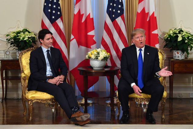 U.S. President Donald Trump speaks during a meeting with Canada's Prime Minister Justin Trudeau at Winfield...