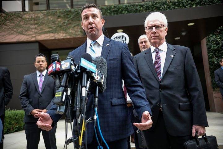 Rep. Duncan Hunter (R-CA) speaks to members of the media after walking out of Federal Courthouse on Tuesday in San Diego, Cal