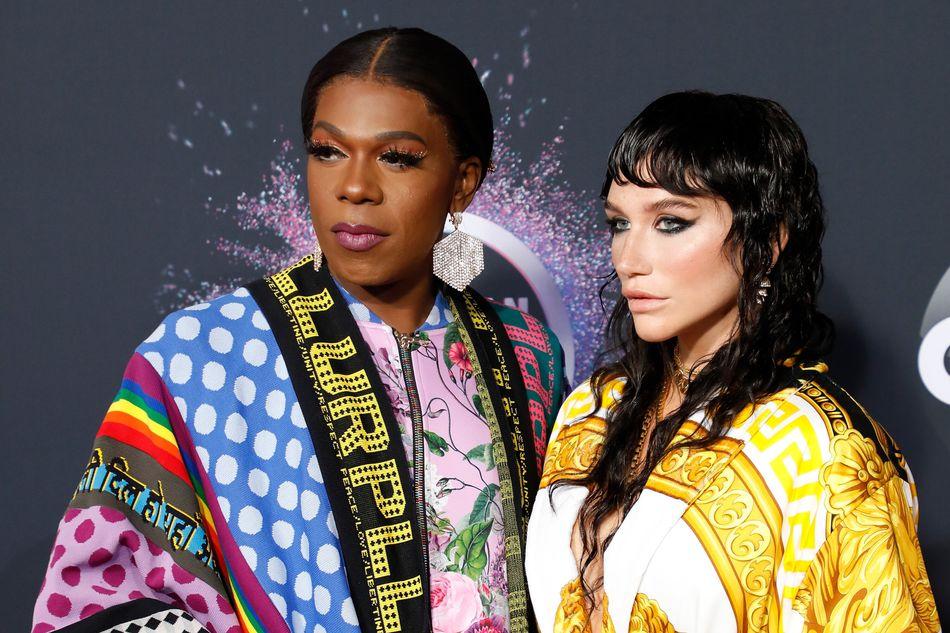 Big Freedia and Kesha at the American Music Awards in Los Angeles on Nov. 24. Big Freedia's makeup by Laken LaSheir. Kesha's makeup by Vittorio Masecchia.