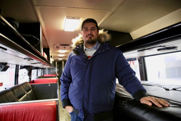 Naeem Farooqui, who works in the transit industry, converted an outdated coach bus into a comfortable...