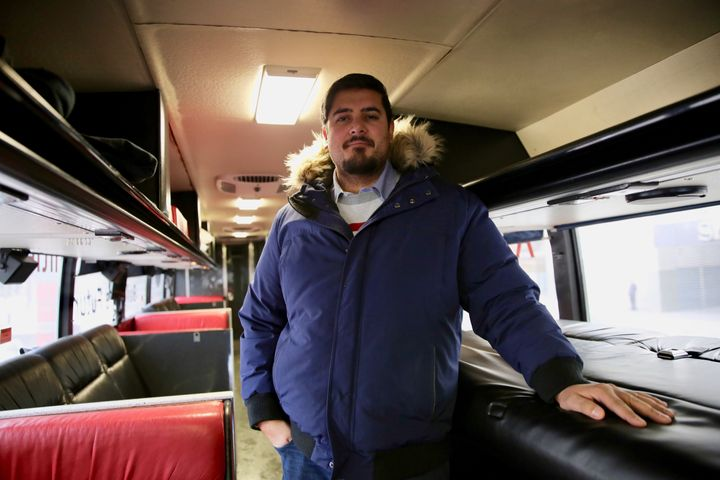 Naeem Farooqui, who works in the transit industry, converted an outdated coach bus into a comfortable place to sleep and relax.