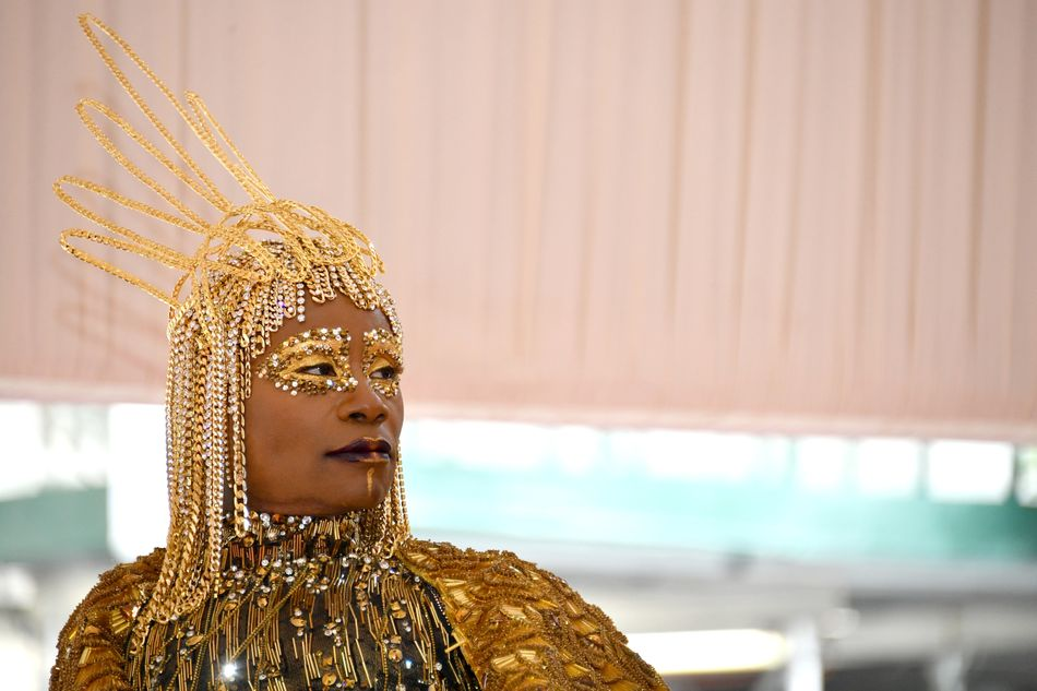Billy Porter at the Met Gala in New York City on May 6. Makeup by La Sonya Gunter using Pat McGrath products.