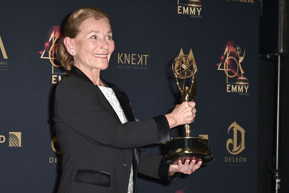 Judge Judy Sheindlin at the Daytime Emmy Awards in Los Angeles on May 5. Sheindlin's clip-in ponytail caused quite a stir when it premiered this year.