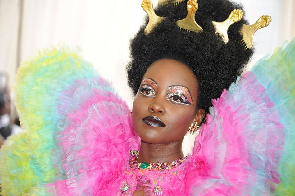 Lupita Nyong'o at the Met Gala in New York City on May 6. Makeup by Nick Barose. Hair byVernon Francois.