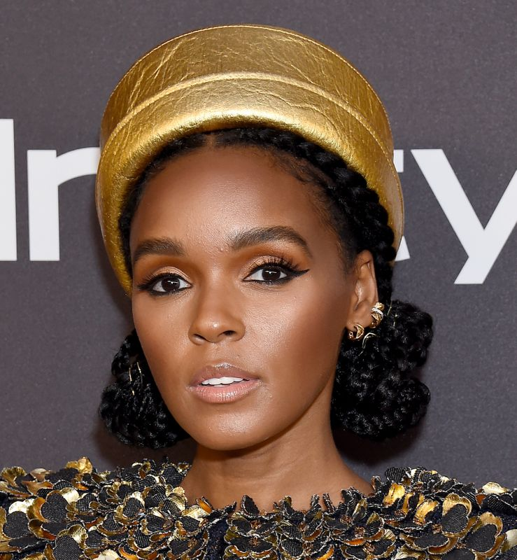 Janelle Monáe at the Golden Globes after-party in Los Angeles on Jan. 6. Makeup by Jessica Smalls using Armani products. Hair by Nikki Nelms.
