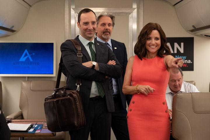 "Tony Hale, Gary Cole and Julia Louis-Dreyfus in the final season of ""Veep."""