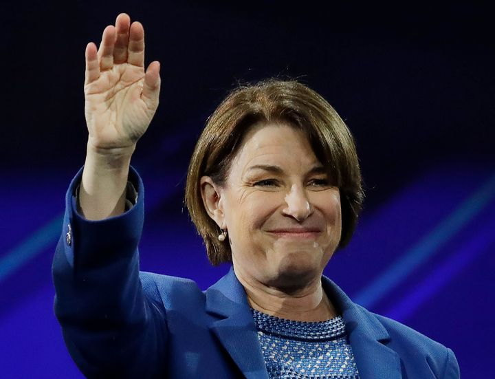 Sen. Amy Klobuchar (D-Minn.) speaks at the California Democratic Party 2019 Fall Endorsing Convention.