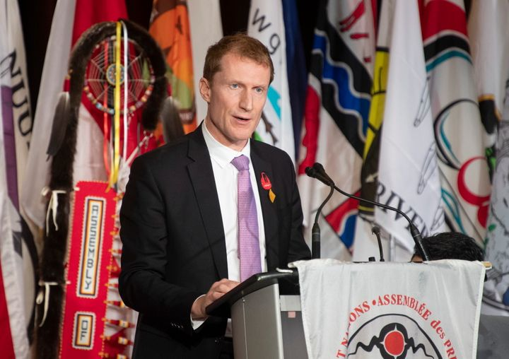 Marc Miller speaks at the AFN Special Chiefs Assembly in Ottawa on Dec. 3, 2019.