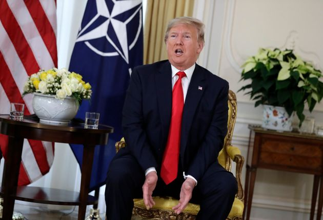 U.S. President Donald Trump speaks during his meeting with NATO Secretary General, Jens Stoltenberg at...