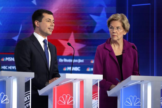 South Bend, Indiana, Mayor Pete Buttigieg, left, has criticized universal, free public college plans...