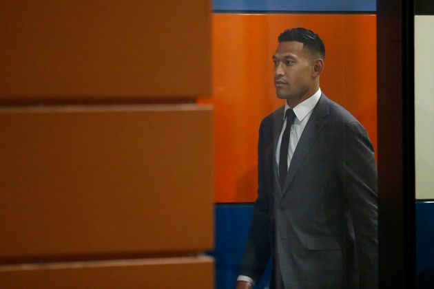 Israel Folau leaves Federal Court on December 02, 2019 in Melbourne,