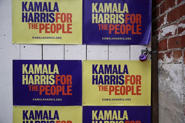 OAKLAND, CALIFORNIA - DECEMBER 03: Campaign signs for democratic presidential candidate U.S. Sen. Kamala...