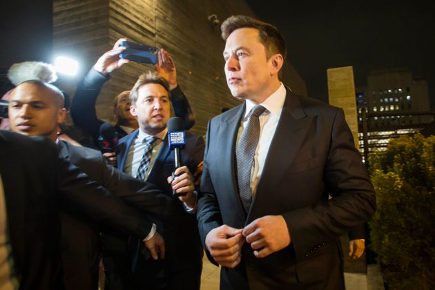 Elon Musk, chief executive officer of Tesla Inc. leaves the US District Court, Central District of California...