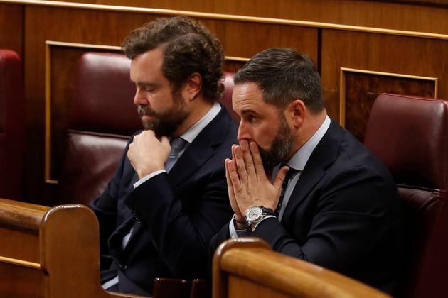 Santiago Abascal y Espinosa de los Monteros en la sesión