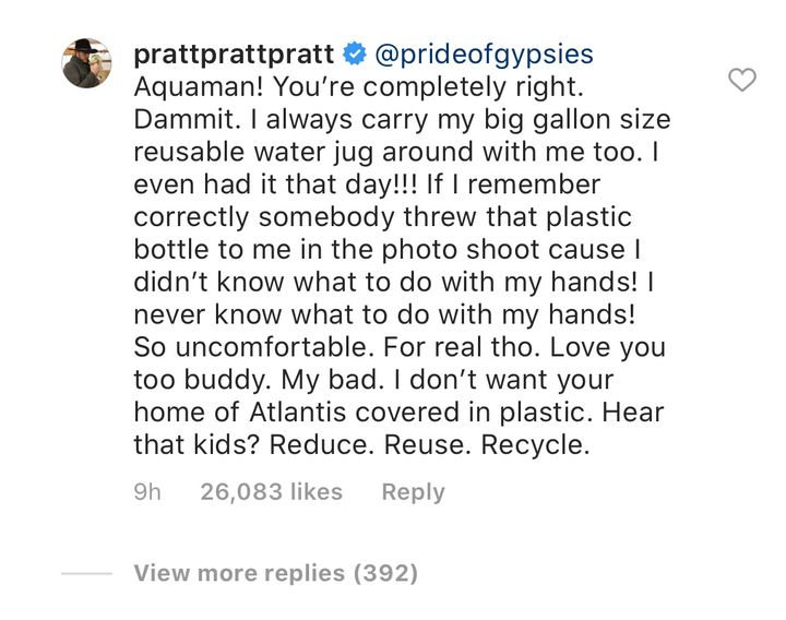 Westlake Legal Group 5de780e31f0000e831df061f Jason Momoa Goes Full Drogo On Chris Pratt's Single-Use Plastic Water Bottle