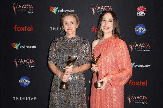 Sarah Scheller and Alison Bell pose with the AACTA Awards for Performance in a Television Comedy and...