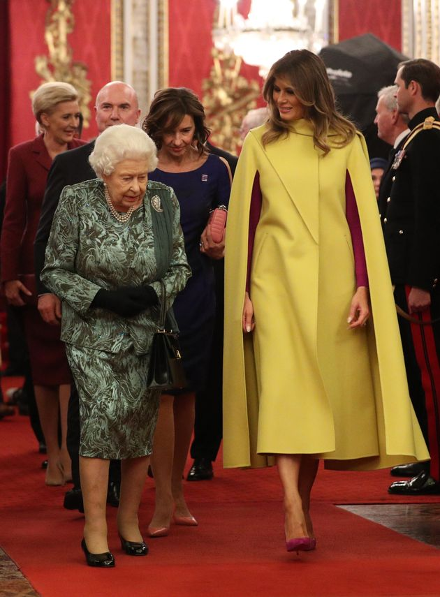 LONDON, ENGLAND - DECEMBER 03: Queen Elizabeth II and First Lady Melania Trump attend a reception for...