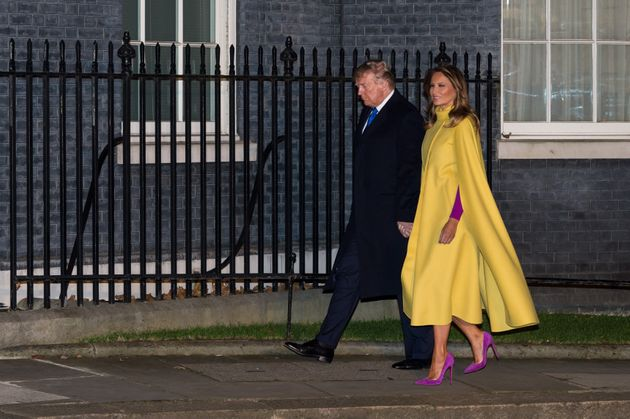 LONDON, UNITED KINGDOM - DECEMBER 03, 2019: US President Donald Trump and First Lady Melania Trump walk...