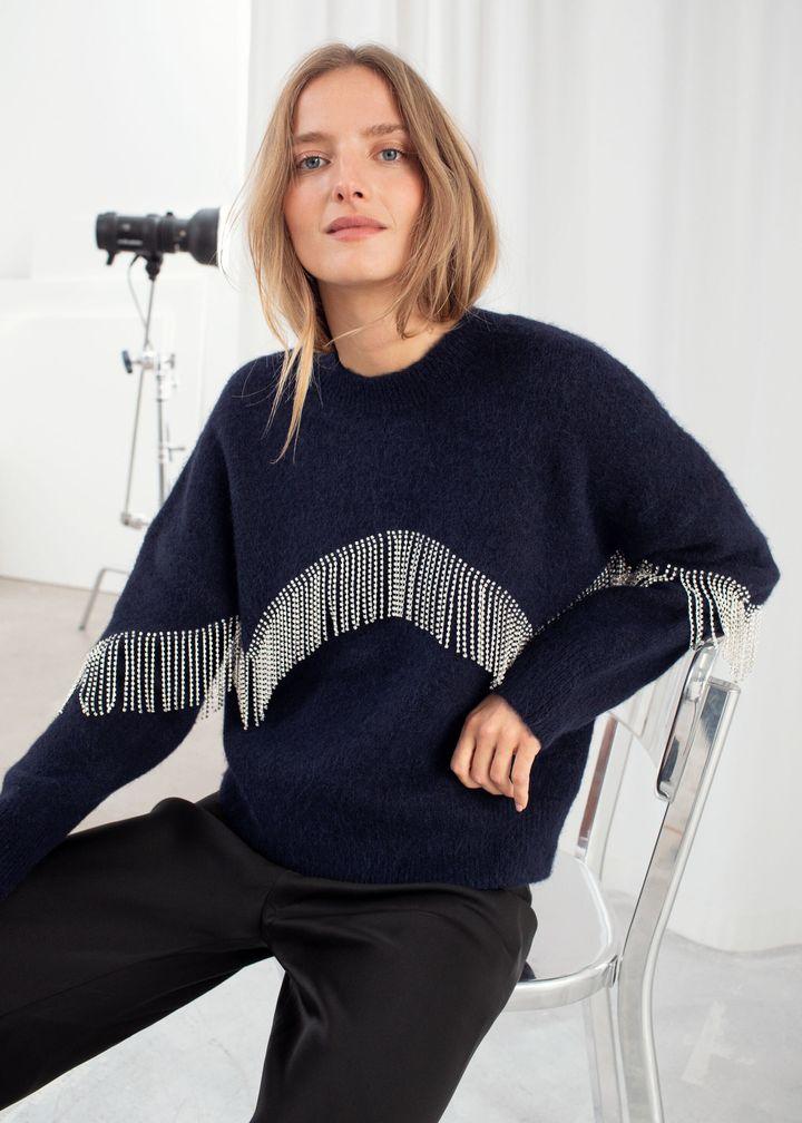 Diamanté Fringe Sweater, &Other Stories