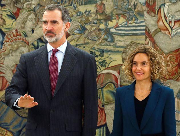 El rey Felipe VI y la presidenta del Congreso, Meritxell