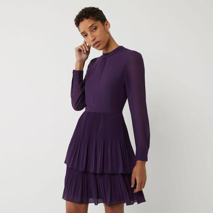 Micropleat Tiered Mini Dress, Warehouse
