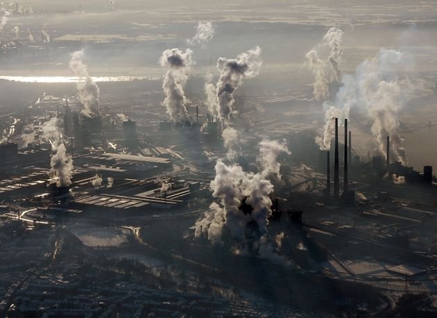 FILE - In this Jan. 9, 2009 file photo is an aerial view of the steel company ThyssenKrupp in Duisburg,...